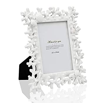 Picture Frame Photo Display 5x7in White Coral Shell Handmade Photo Frames Ornaments with High Definition Glass Family Office Photo Studio Art Picture Frame for Tabletop Stand or Wall Hanging