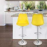 Magshion Set of 2 Swivel Plastic Highback Bar Stool with PU Leather Seat Pad Chrome Air Lift w/Footrest Multi Color (Yellow)