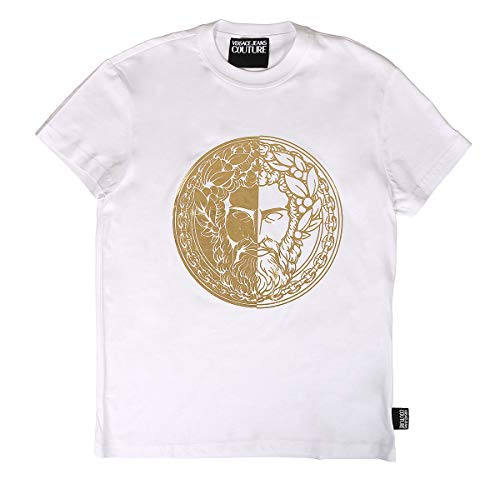 Versace Jeans Couture Slim Fit Foil Head Logo T-Shirt Large White and Gold