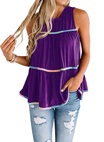 MIHOLL Women's BabydollTops Sleeveless Summer Casual Loose T Shirt Flowy Tank Top (X-Large, Purple)