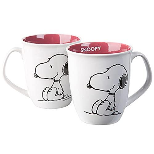Peanuts Snoopy Tasse Kaffeetasse Weiß aus Steingut 280 ml