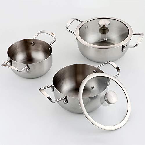 ROYWY Juego de Ollas, Batería de Utensilios de Cocina de Acero Inoxidable, Cacerolas Antiadherentes de Cocina(3 Piezas) Apto para cocina de inducción y gas, fácil de limpiar Olla de sopa