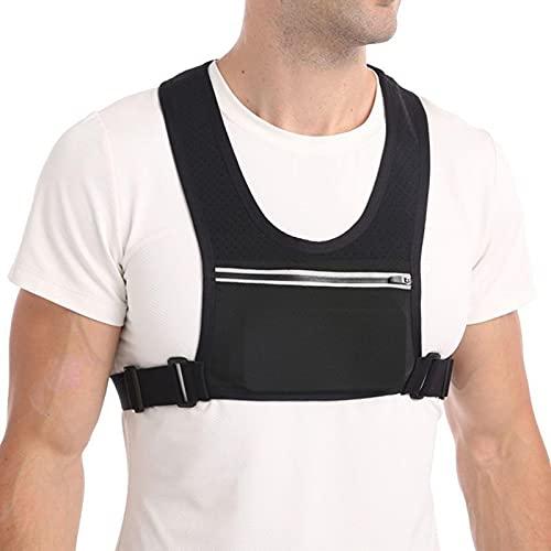 Chaleco para correr con cinturilla ajustable y bolsa para soporte para teléfono y bolsillo trasero para botellas de agua, chaleco reflectante para correr, equipo para hombres y mujeres para trotar