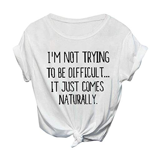 Innerternet Damen Fashion Brief Drucken Kurzarm I Not Trying T-Shirt Lose Cute Letter Print Kurzarm Roundhal Ausschnitt Freizeit Bluse Tops lustiges Grafik-t-Shirt Basic Tops Bequem Tee Tops