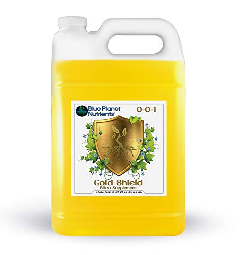 Gold Shield Silica Supplement for Plants (1 Gal/128 oz) Ultra Concentrated   Makes UP to 3,700 GALLONS   Strengthens & Protects Plants   for All Plants & Gardens   Made in USA   Blue Planet Nutrients