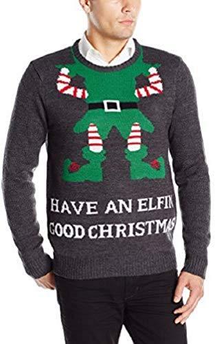 3 Santas Men's Have an Elfin' Good Christmas Sweater, Charcoal, Small