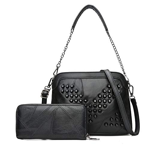 Borsa a tracolla alla moda 2 in 1 in pelle colore puro alla moda PU borsetta Single-tracolla Messenger Bag di Rivet Donne (Colore : V Rivet)