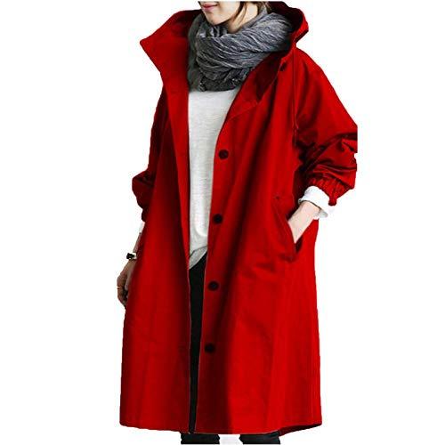 JUTOO Womens Winter Lose Kapuze wild Elegante Windbreaker Bequeme Mantel Outwear (rot,XXXL)