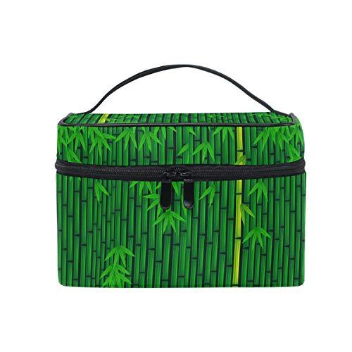 Ahomy Grand sac de maquillage en bambou vert Motif bâton de bambou portable Trousse de toilette organiseur pour femme