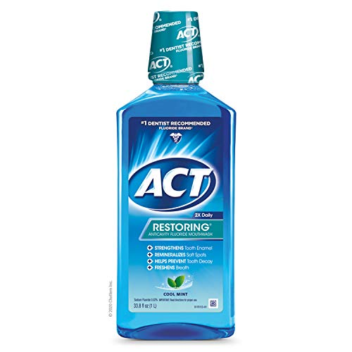 ACT Restoring Fluoride Mouthwash 33.8 fl. oz. Strengthens Tooth Enamel, Cool Mint ( pack of 3)
