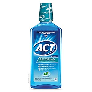 ACT Restoring Fluoride Mouthwash 101.4 fl. oz. Strengthens Tooth Enamel, Cool Mint, Pack of 3 (33.8 fl oz each)
