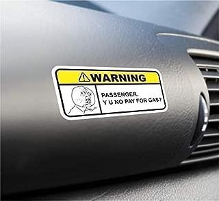 (2X) Y U No Pay For Gas Funny Warning Sticker Set Vinyl Decal For Car Truck SUV Visor Dashboard Decal Dank Meme Rage Comics