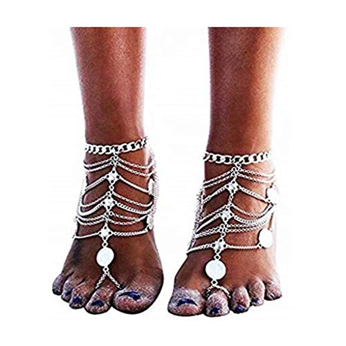 gujiu Fashion Bracelet Retro Anklet Ankle Bracelet with Alloy Bead Tassel Vintage Anklet Foot Accessories Jewelry for Women and Girls