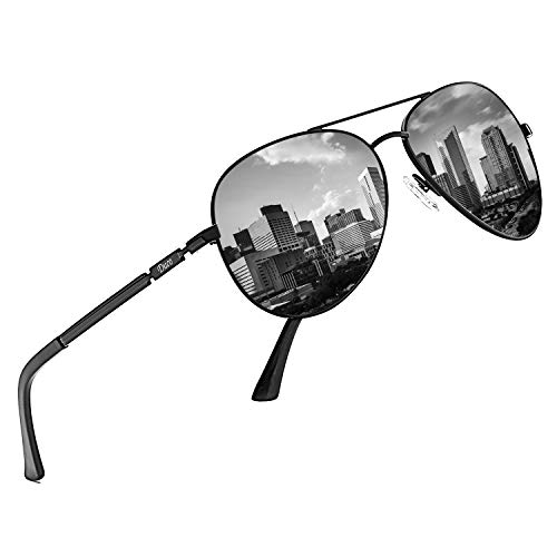 DUCO Coole Fliegerbrille Sonnenbrille Klassische Unisex Pilotenbrille UV400 Filterkategorie 3 CE 3025K (Gestell: Schwarz, Gläser: Grau)