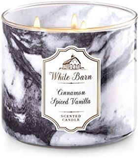 Bath and Body Works White Barn Cinnamon Spiced Vanilla 3 Wick Candle 14.5 Ounce 25 To 45 Hour Burn Time