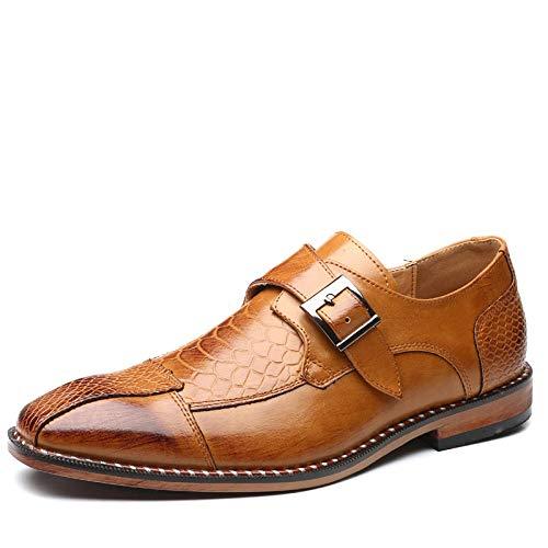 Ballyzess Zapatos De Cordones para Hombre Zapatos De Cuero Zapatos De Cuero Puntiagudos para Hombres Zapatos De Cuero Hebilla Lateral para Hombres Zapatos Casuales para Hombres-45