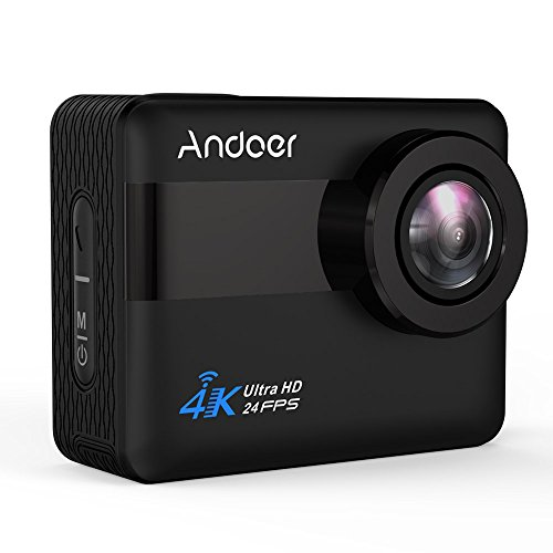 Andoer 4K WiFi Action Camera 2.31-inch Full HD LCD Touchscreen with 20MP Novatek 96660 Chipset Suppport Gyroscope Anti-Shake 5X Zoom, 170 Wide-Angle Lens and Waterproof 30m Hard Case (Black)