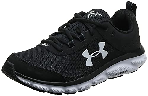 Under Armour mens Charged Assert 8 Running Shoe, Black/White, 11 US