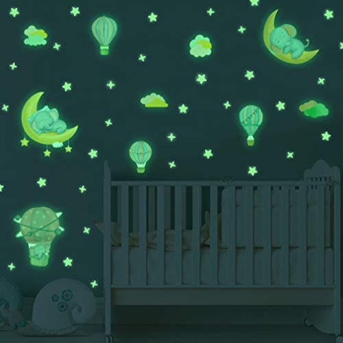 Glow in The Dark Sticker Adorable Elephant Wall Decals Galaxy Stars Wall Art Luminous Wall Art product image