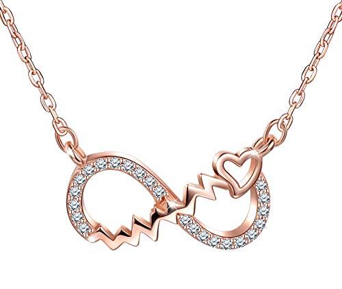 Collares de plata 925, Collar para mujer y niña, colgante con símbolo de infinito, oro rosa, con circón incrustacione, decorado con un bonito corazón, Regalo de cumpleaños de Navidad