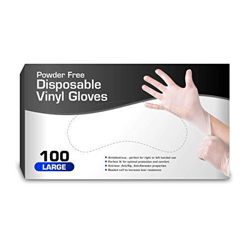 Vinyl Gloves, Disposable Gloves, Comfortable, Powder Free, Latex Free | 100 Pcs Large