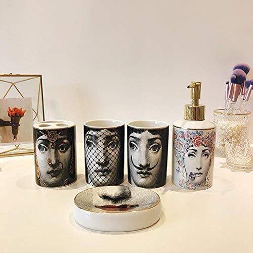 IXL 5PCS Badezimmer-Set im nordischen Stil Keramikdekoration Zubehör Zahnbürste Becher Seifenspender Tasse Toilettenablage, 1 Set