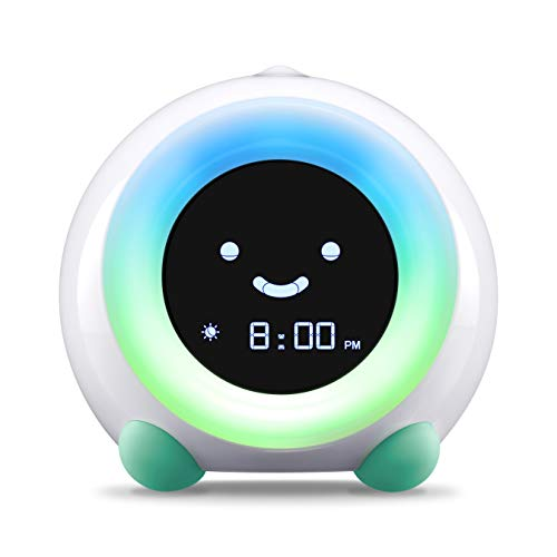 LittleHippo Mella Ready to Rise Children's Sleep Trainer, Alarm Clock, Night Light and Sleep Sounds Machine (Tropical Teal)