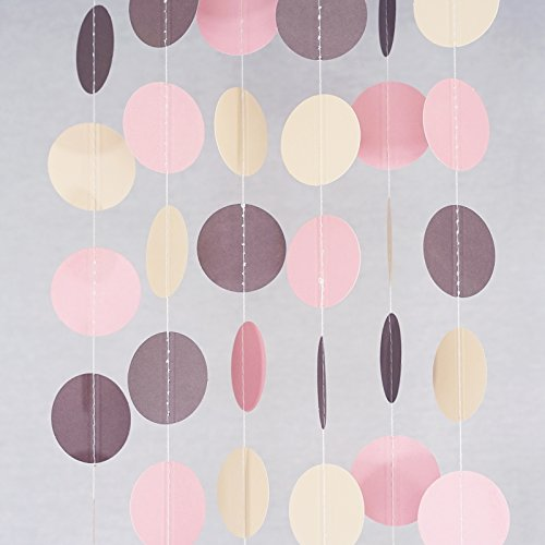 Chloe Elizabeth Circle Dots Paper Party Garland Streamer Backdrop (4-Pack, 10 Feet Per Garland, 40 Feet Total) - Blush Pink, Ivory, Brown