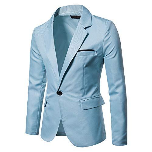 BEIXUNDIANZI Herren Sakko Regular Fit klassisch Reverskragen Blazer Jackett Anzug Slim Fit bequem Sky Blue M