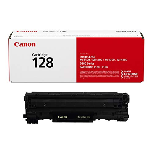 Canon Genuine Toner, Cartridge 128 Black (3500B001), 1 Pack, for Canon imageCLASS MF4450, MF4570dn, MF4570dw, MF4770n, MF4880dw, MF4890dw, D530, D550 Laser Printers, and FAXPHONE L100, L190