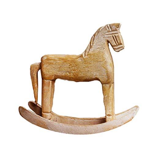 Escultura de estatua de caballo de madera, decoración del hogar, modelo de caballo, oficina, sala de estar, gabinete de vino, gabinete de TV, decoración, adornos H19CM para el jardín del hogar, ad