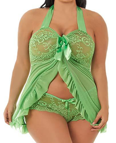 Plus Size Lingerie Babydoll Set for Women(4XL,Apple Green)