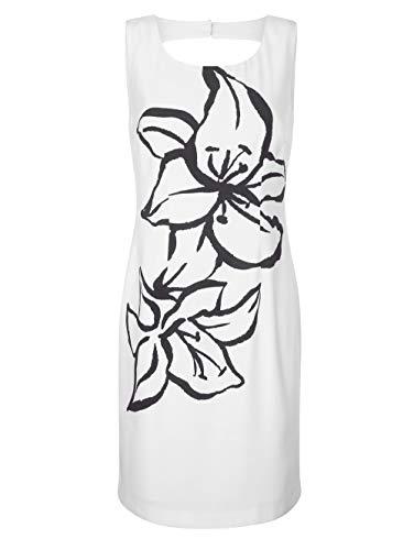 Alba Moda Figurbetontes Knielang Kleid in Weiß aus Baumwolle