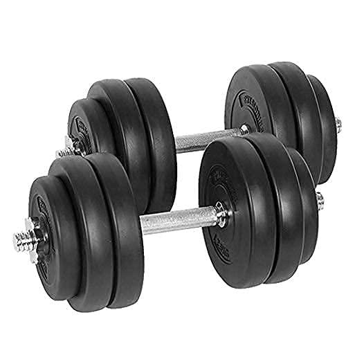 Physionics® Kurzhantel Set 30 kg (2 x 15 kg) - inkl. 12 Gewichte aus Kunststoff, 2 Hantelstangen und 4 Sternverschlüssen aus Stahl, Griff gerändelt, Ø 25 mm - Hantelstangen, Kurzhanteln