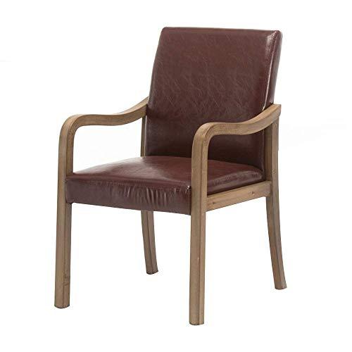N/Z Life Equipment Cómodo sillón Retro con reposabrazos Ergonomía Silla de Restaurante Asiento de Cuero sintético Silla de Oficina de Madera Maciza Capacidad de Carga: 330 Libras
