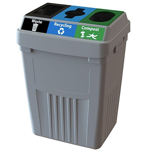 CleanRiver Flex E bin Indoor and Outdoor Sturdy 3-in-1 Waste, Recycling and Compost Bin FX50A-GY3-W-BK-R-BE-C-GN, 50 Gallons, Grey