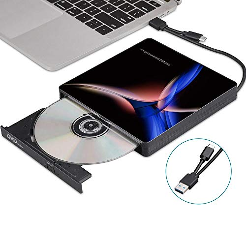 Computer schijfstation USB-C externe optische drive USB 3.0-type C CD/DVD-speler DVD-brander for PC Laptop Windows (Color : Black, Size : One size)
