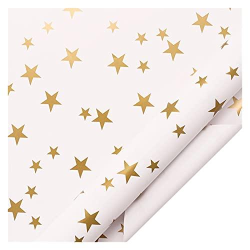 HSLINU Los 50x70cm Kraft Rollo de Papel de Envolver 5 diseños de impresión Diferentes Papel de Regalo Caja de Regalo de Ramo de Bricolaje Papel Hecho a Mano para Vacaciones, cumpleaños, Navidad, Boda