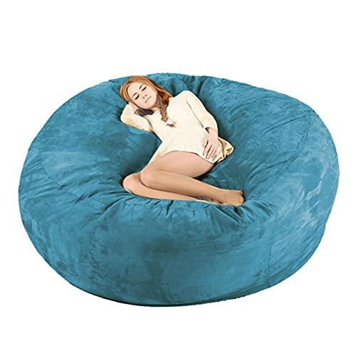 Ninhao 7ft riesige flaumige Bohnenbeutel Kein Füllstoff Faule Sofas abdecken Wohnzimmermöbel Große runde weiche microsudee Sitzsack-Schlafsofa-Tatami-Abdeckung  ohne Füllung  (Color : Navy Blue)