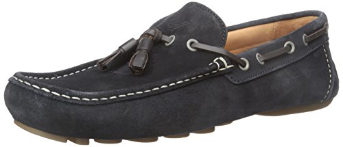 Armani Jeans Suede Loafer mit Tassle Slip-on Loafer, Blue, 40