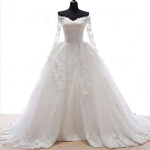 Hochzeitskleid aus spitze Romantische Ballkleid Brautkleid mit langen Ärmeln Applikationen vorne offen Röcke Falten Brautkleider hochzeitskleid in weiß ( Color : Picture white , US Size : 22W )