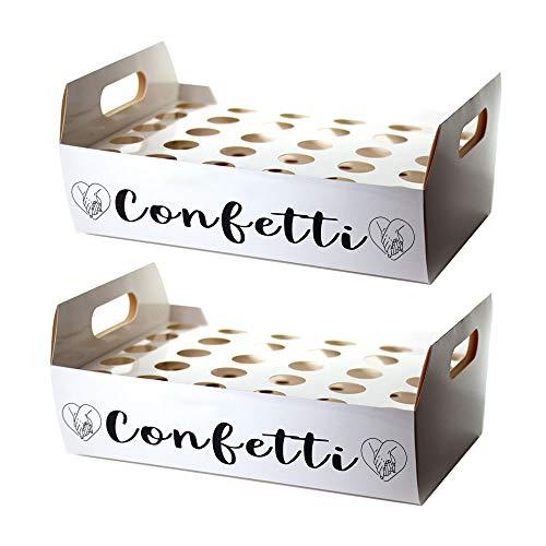 Wedding Confetti Cone Stand Box - 30pieces of Cone Papers and 30Holes for 30 Confetti Cones box (White, 2)