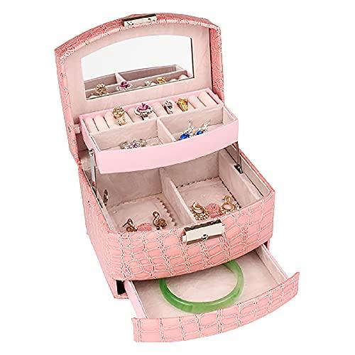 FAYANG Caja De Almacenamiento De Joyas De Doble Capa/Caja De Joyería Tipo Cajón De Gran Capacidad/Caja De Almacenamiento De Joyas, Regalo, Primera Opción para La Propuesta,Pink