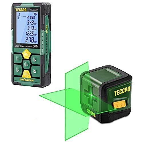 Laser Distance Meter 196ft, 99 Sets Data Storage, Electronic Angle Sensor + Line Laser Level TECCPO, 50ft Green Line Laser level, Self Leveling Tool, Cross Mode, Laser Measure Rechargeable