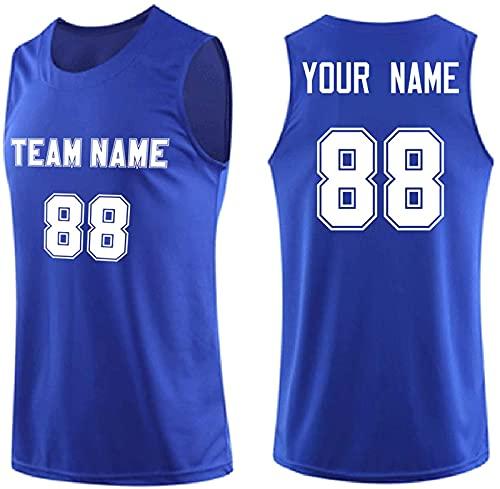 CHSSC # 88 - Camiseta de manga corta para hombre, uniforme de equipo personalizado, camiseta de malla reversible, transpirable, sin mangas, chaleco deportivo para fanático, color azul claro - 3XL