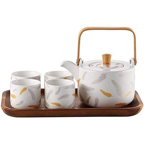 ZJZ Coffrets-Cadeaux de thé à café en céramique de Porcelaine 6 pièces Tasses pour 4 théière Plateau à thé Ensembles à café Tasses à thé Ensemble à thé, Noir