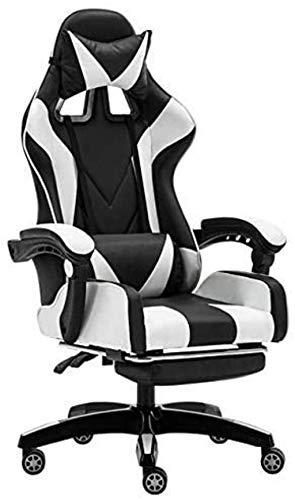 XiYou Silla para computadora, Silla ergonómica para Juegos, Silla de Oficina, Silla Deportiva, sillón de Carreras, sillón (Azul sin reposapiés)