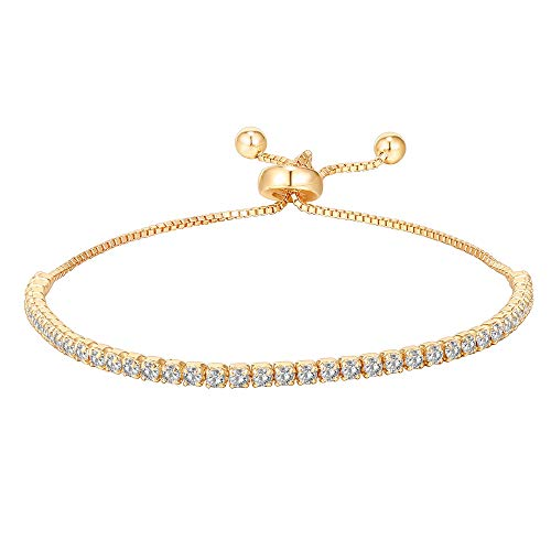 PAVOI 14K Gold Plated Cubic Zirconia Classic Tennis Bracelet for Women in Yellow Gold
