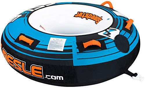 MESLE Tube Speedster 58'' blau, Towable-Tube, Fun-Tube, 147 cm Donut Wasser-Reifen, blau-schwarz-weiß, 1-2 Personen, 840 D Nylon, Tube, verstärkte Zugvorrichtung, Boston Ventil