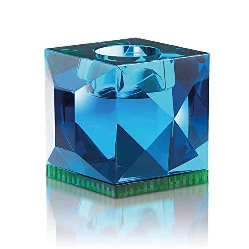Reflections Copenhagen - Ophelia - Teelichtständer, Kerzenleuchter, Kerzenständer - Kristallglas - Azur Blau Grün - (LxBxH): 9 x 9 x 7,8 cm